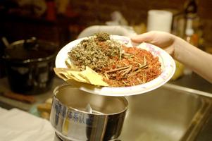 Herbs into Grinder