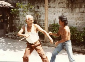 Filemon Canete and Federico Mendoza demonstrating knife defenses in 1984