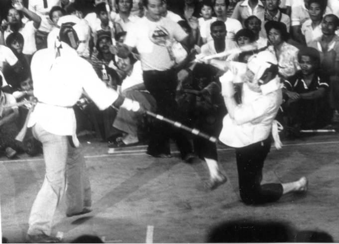 Tom Bisio (rt) fighting in the 1st National Arnis Championships